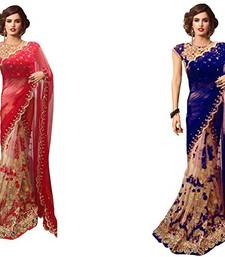 Buy Multicolor embroidered georgette saree with blouse sarees-combo-sari online