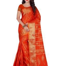 Buy Orange woven polycotton saree with blouse cotton-silk-saree online