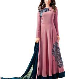 Buy Pink embroidered georgette salwar with dupatta anarkali-salwar-kameez online