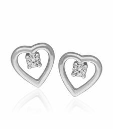 Buy Valentine day 0.04cts Diamond heart shape earrings-18k white gold earrings -gift for love Earring online