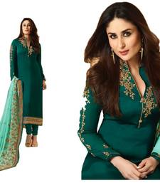 Buy green embroidred Satin unstitched salwar with dupatta dress-material online