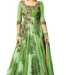 Buy green embroidred net semi stitched salwar with dupatta semi-stitched-salwar-suit online