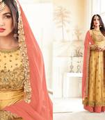 Buy yellow embroidred net semi stitched salwar with dupatta
