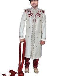 Buy White Brocade Zari Thread Zardosi sherwani rajasthani-sherwani online