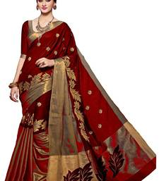 Buy Red embroidered cotton silk saree with blouse cotton-silk-saree online