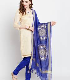 Buy AgrohA cream blended cotton dress material with dupatta dress-material online
