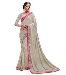 Buy Grey embroidered brasso saree with blouse brasso-saree online