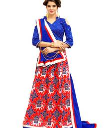 Buy Royal Blue And Red Digitally Printed Twrill Silk  Lehenga Choli With Un-Stitched Blouse lehenga-choli online