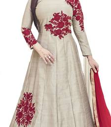 Buy Grey Embroidered Silk unstitched salwar with dupatta anarkali-salwar-kameez online