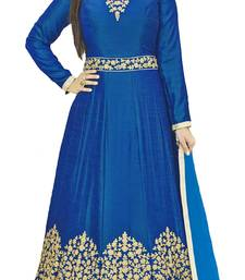 Buy Blue Embroidered Silk unstitched salwar with dupatta anarkali-salwar-kameez online