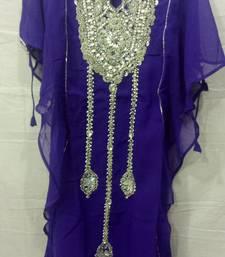 Buy Purple satin embroidered georgette islamic arabic party wear abaya kids-kaftan online