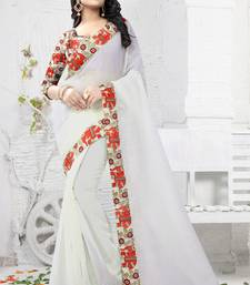 Buy Off white plain chanderi saree with blouse light-weight-saree online