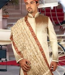 Buy blonde cream brocade embroidered sherwani men-festive-wear online