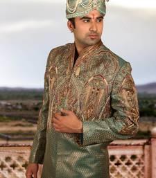 Buy green brocade embroidered sherwani men-festive-wear online