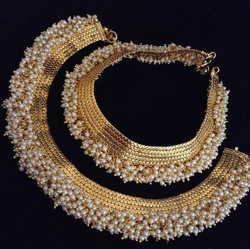 Buy Chandni Pearl Payal Copper Traditional Anklet India