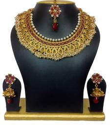 Buy High Gold Polish Chocker Set with Tiny Pearls in Maroon Green black-friday-deal-sale online