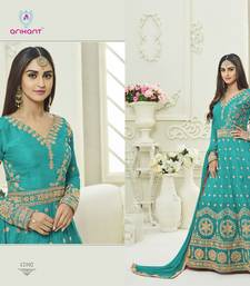 Buy Green zari silk semi stitched salwar with dupatta silk-salwar-kameez online