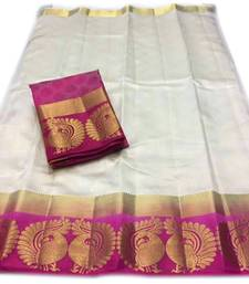 Buy White hand woven silk saree with blouse art-silk-saree online