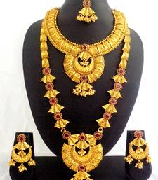 Buy Ruby Copper Long Short Temple Necklace Jewelry Haaram Set for Wedding Festival - LCLSN01_RB bridal-set online