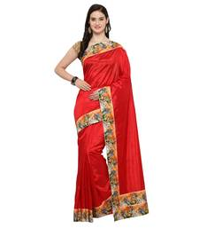 Buy Red printed raw silk saree with blouse ethnic-saree online