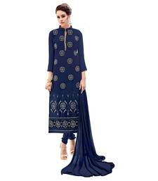 Buy Blue embroidered georgette salwar with dupatta cotton-silk-suit online