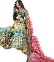 Buy Sky blue embroidered silk unstitched lehenga ethnic-lehenga online