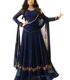 Buy Blue embroidered faux georgette salwar semi-stitched-salwar-suit online