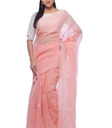 Buy Peach embroidered georgette saree with blouse chikankari-saris online