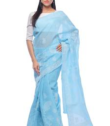 Buy Sky blue embroidered georgette saree with blouse chikankari-saris online