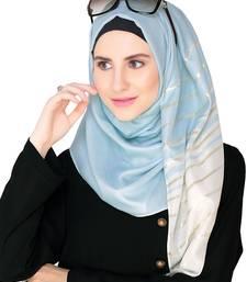 Buy light blue Satin Modal Islamic Style Look Casual Hijab Arabian Naqab Stole Women Scarf hijab online