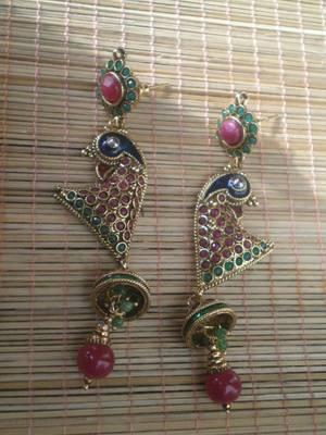 Long Peacock Earrings-05080