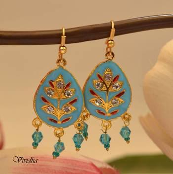 Blue Meenakari Work  Drop Earrings