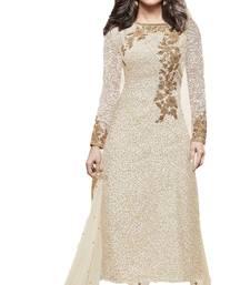 Buy White embroidered silk salwar party-wear-salwar-kameez online