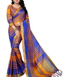 Buy Orange block print cotton saree with blouse cotton-saree online