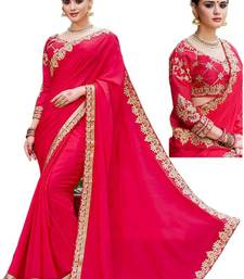 Buy Red embroidered georgette saree with blouse pre-stitched-saree online