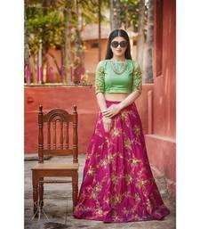Buy Dark-pink Embroidered silk stitched lehenga lehenga-choli online