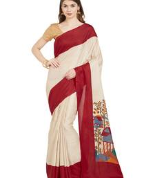 Buy Beige printed linen saree with blouse linen-saree online