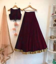 Buy maroon art_silk embroidered lehenga with dupatta lehenga-choli online