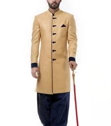 Buy Beige silk thread work men ethnic achkan online