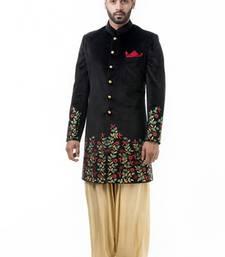 Buy Black velvet resham jaal men ethnic achkan online
