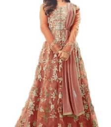 Buy Orange thread embroidery net salwar anarkali-salwar-kameez online