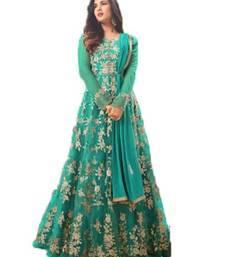 Buy Green thread embroidery net salwar anarkali-salwar-kameez online