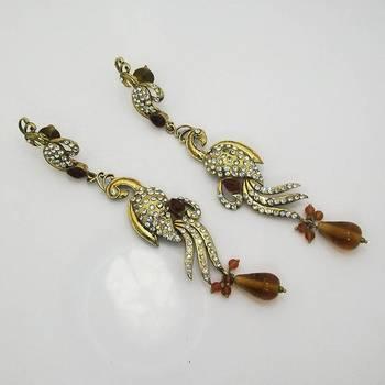 Victorian Slim Peacock Earring Copper