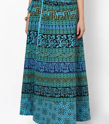 Buy Turquoise Jaipuri Printed Cotton Wrap Skirt skirt online