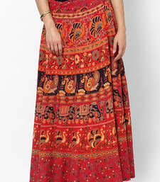 Buy Red Jaipuri Printed Cotton Wrap Skirt cotton-skirt online