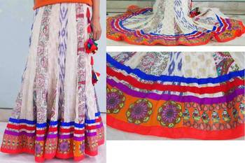 Multi color patchwork cotton flared skirt with patchwork doll and circle borders