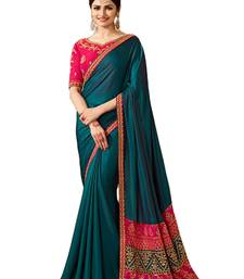 Buy Green embroidered silk blend saree with blouse other-actress-saree online