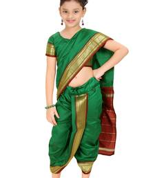 Buy Bhartiya Paridhan Girls Stitched Traditional Nauwar(9Yard) Saree With Stitched Blouse kids-saree online