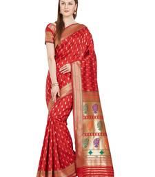 Buy green woven silk saree with blouse kanchipuram-silk-saree online