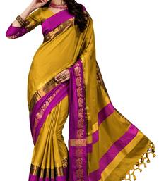 Buy Yellow Soft Silk woven saree with blouse silk-saree online